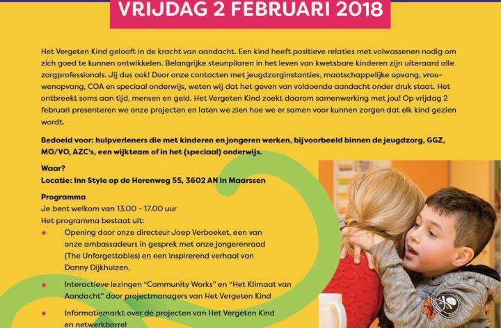 Het Vergeten Kind organiseert symposium voor hulpverleners