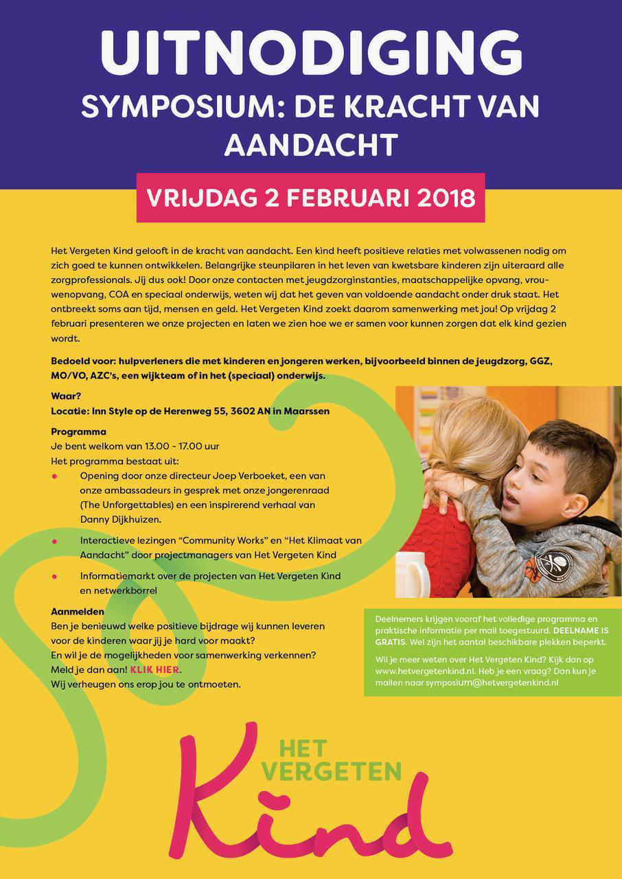 Uitnodiging Symposium Het Vergeten Kind 2018